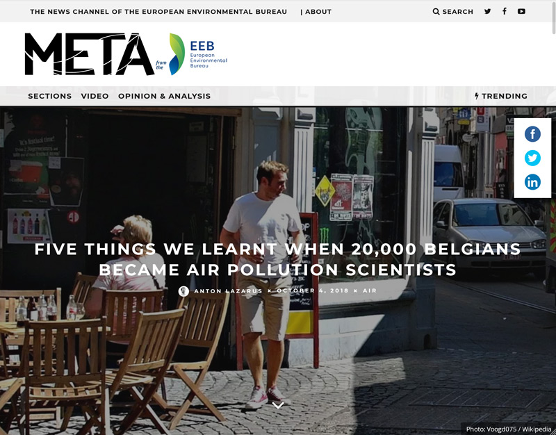 """Meta: """"Five things we learnt when 20,000 Belgians became air pollution scientists."""""""